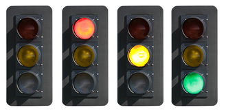 Signs: Traffic Light With Red, Yellow and Green Lights Royalty Free Stock Photography
