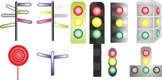 Signs and traffic lights Stock Photos