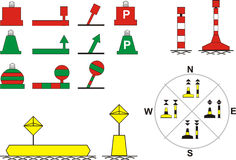 Signs traffic river navigation. Floating buoys, for river navigation, vector illustration Royalty Free Stock Photography