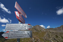 Signs for trekkers Royalty Free Stock Photo