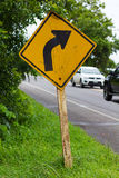 Signs, turn right to the car. Stock Photos