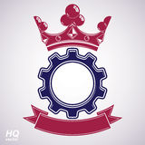 09_4_signs_235. Vector industrial design element, cog wheel with a coronet and red decorative curvy ribbon. High quality manufacturing gear icon. Best Royalty Free Stock Photo