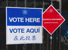 Signs at the voting site in New York Royalty Free Stock Images
