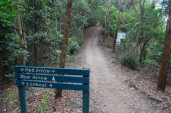 Signs on walking track. Signs on track to Mount Whitfield, Cairns, Australia Stock Photo