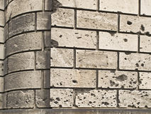 Signs of War. Facade of a building in old Europe, with traces of fire from the Second World War Royalty Free Stock Image