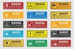 Signs warning of the danger - fire, high voltage, toxic, temperature. Danger sign banner with warning text, vector illustration Stock Images