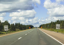 Signs Warning of Speed Limit of 110 in Nova Scotia Stock Photos