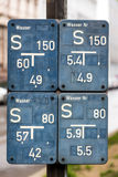 Signs for water pipes Stock Photo