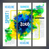 Signs 2016 on watercolor ink background of green, blue color Royalty Free Stock Image