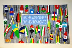 Signs welcoming political refugees in the United States in Portland, Maine Royalty Free Stock Photography