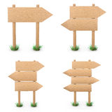 Signs. Wooden signs set 3d rendering Royalty Free Stock Photography