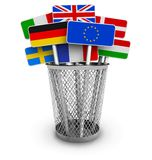 Signs with world flags in office bucket Royalty Free Stock Images