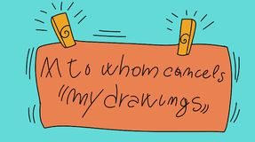 Signs with writing do not delete my drawings. Colorful drawings in pop art style royalty free illustration