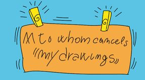 Signs with writing do not delete my drawings. Colorful drawings in pop art style stock illustration