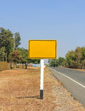 Signs yellow rectangles. Rectangular yellow sign on the side of the road Royalty Free Stock Photography