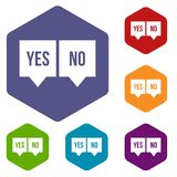 Signs of yes and no icons set Stock Photos