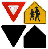 Signs: Yield and School Crossing Signs with Alpha Channel Stock Photo