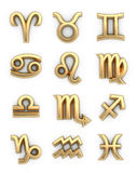 Signs of the zodiac. Golden signs of the zodiac. 3d illustration Stock Image