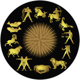 Signs of the zodiac. The twelve signs of the zodiac in gold with a central star on a black background royalty free illustration