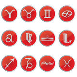 The signs of the Zodiac. The astrological sings in red circles eps10 graphic royalty free illustration