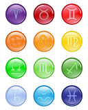 Signs of zodiac. Glossy colored buttons with zodiacal signs Stock Photo