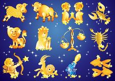 Signs of the Zodiac. 12 zodiac signs on blue background with stars royalty free illustration