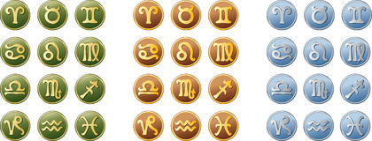 Signs of the zodiac. Signs of zodiac in three colours Stock Photos
