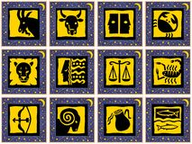 Signs of the zodiac. Blue golden squares with golden stars and golden signs of the zodiac. Available as EPS-File Stock Photography