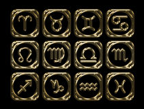 Signs of the zodiac. 3D rendering. Golden signs of the zodiac on white background. 3D rendering Royalty Free Stock Image