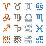 Signs zodiac elements water fire earth air icons. Twelve signs zodiac and four elements water, fire, earth, air thin line icon set. Vector linear symbol pack Royalty Free Stock Photography