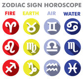 Signs of the Zodiac. Signs of the Zodiac in a flat style with an indication of the elements Royalty Free Stock Photo