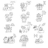 The signs of the zodiac in the form of cute cats. Signs of the zodiac in the form of cute cats vector illustration
