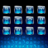 Signs of zodiac on glossy icons Stock Image