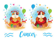 The signs of the zodiac. Guinea pig. Cancer. Royalty Free Stock Photography