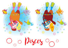 The signs of the zodiac. Guinea pig. Pisces. Stock Photo
