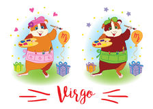 The signs of the zodiac. Guinea pig. Virgo. Royalty Free Stock Photo
