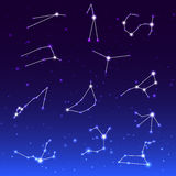 Signs of Zodiac on night sky Royalty Free Stock Photography