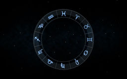 Signs of zodiac over night sky and stars Royalty Free Stock Image