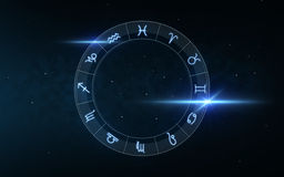 Signs of zodiac over night sky and stars Royalty Free Stock Photography