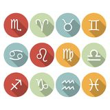 Signs of the zodiac. Vector flat icons Royalty Free Stock Photography