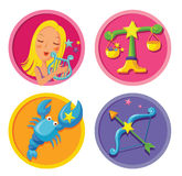 Signs of the zodiac. Vector set of cartoon zodiac star sign Royalty Free Stock Image