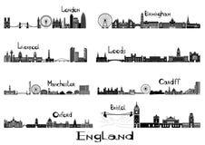 Signts de la silueta de 8 ciudades de Inglaterra Imagen de archivo libre de regalías