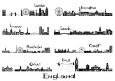 Signts de silhouette de 8 villes de l'Angleterre Image libre de droits