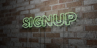 SIGNUP - Glowing Neon Sign on stonework wall - 3D rendered royalty free stock illustration Stock Images