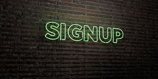 SIGNUP -Realistic Neon Sign on Brick Wall background - 3D rendered royalty free stock image Stock Images