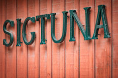Sigtuna sign on building in Sweden, Europe Stock Photo