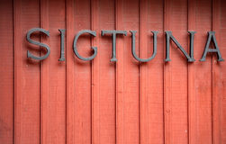 Sigtuna sign on building in Sweden, Europe Stock Photos
