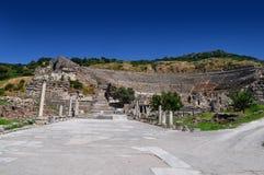 Sigue habiendo el teatro antiguo en Ephesus, Turquía fotos de archivo libres de regalías