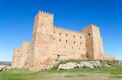 Siguenza城堡,老堡垒在瓜达拉哈拉,西班牙 库存图片