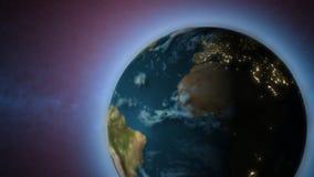 siguiendo la cámara en sol de la tierra del globo del mundo del ciberespacio protagonice ilustración del vector